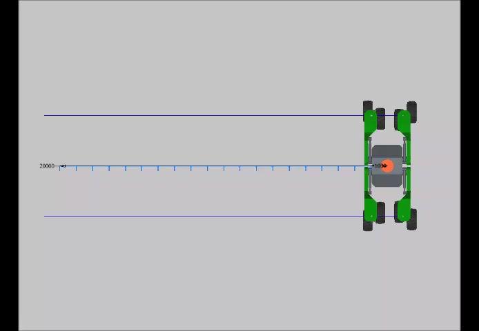 Bei mindestens einseitig breitgestelltem Fahrwerk ist jede erdenkliche Bewegung möglich. Von Streckenfahrt bis auf der Stelle drehen.