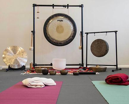 Gongs, Crystal & Tibetan Singing bowls.