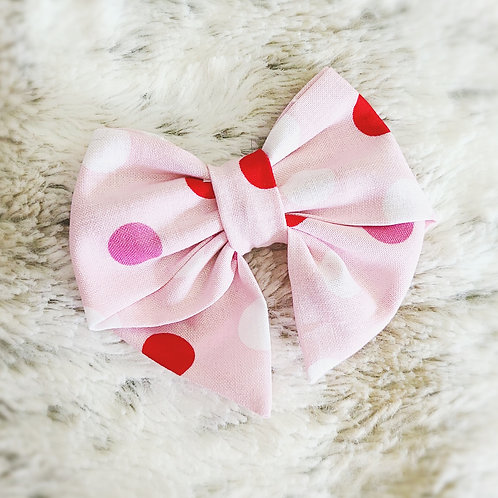 Pink and Red polka dot Bow