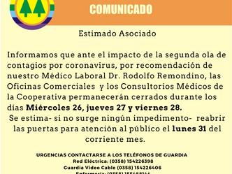 Las Oficinas Comerciales y los Consultorios Médicos permanecerán cerrados