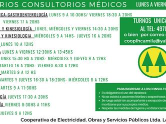 Nuevos horarios de Atención de los Profesionales Médicos