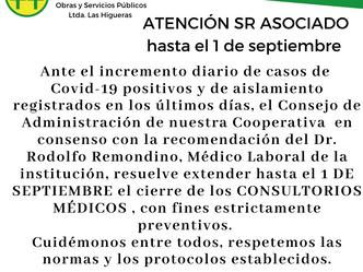 Extienden el cierre de consultorios hasta el 1 de septiembre