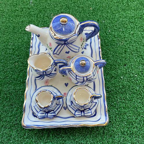 Miniature ceramic tea set  rect blue