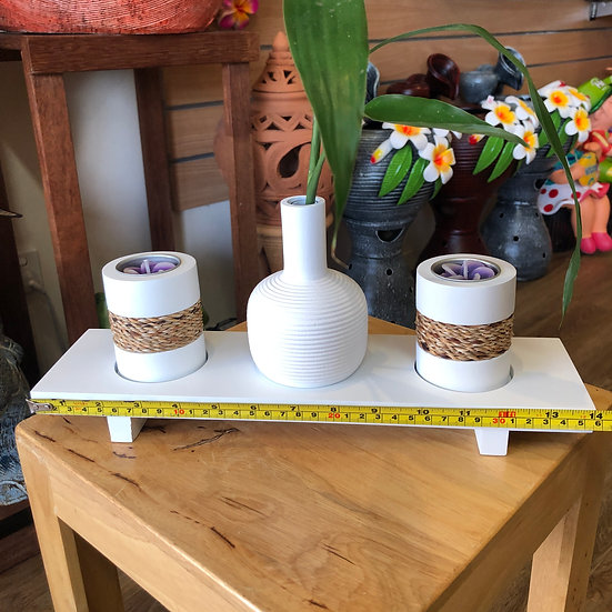 Mango wood vase and candle holder set white
