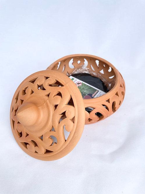 Terracotta mosquito coil holder