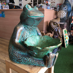 Terracotta frog bird bath green