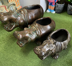 Terracotta new hippo planter sm, med, lg