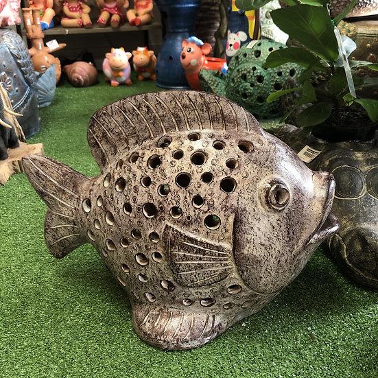 Terracotta fish ornament brown