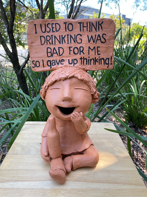 """Terracotta head sign """"I used to"""
