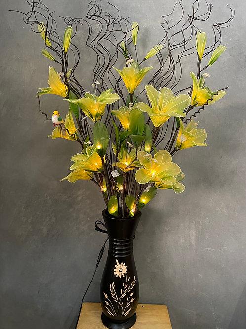 "Flower light (lime green) arrangement  with 5""x14""vase"