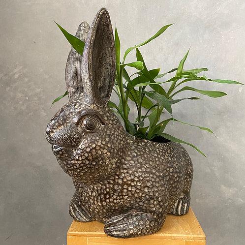 Terracotta rabbit planter black