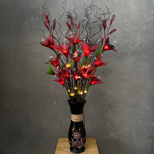 "Flower light (maroon) arrangement  with 5""x14""vase"