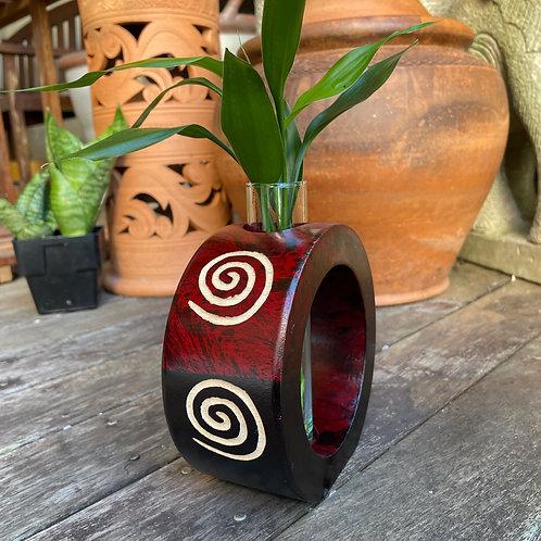 """6"""" Mango wood vase red tg   bc"""