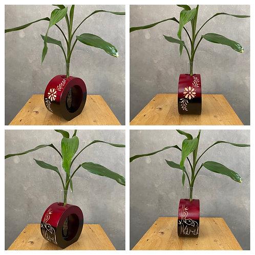 """5""""Mango wood vase red  bc"""