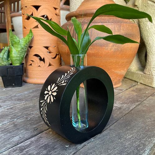 """6"""" Mango wood vase  black  bc"""