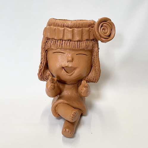 Terracotta pot woman planter