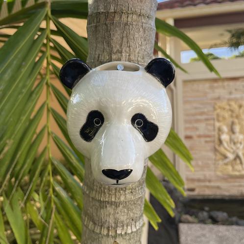 Wall hung ceramic panda vase