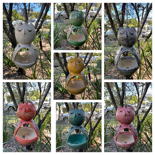 Terracotta hanging cats
