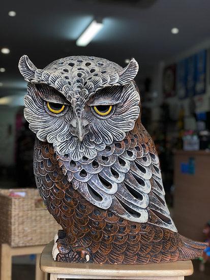 Terracotta owl ornament Xlg 2T