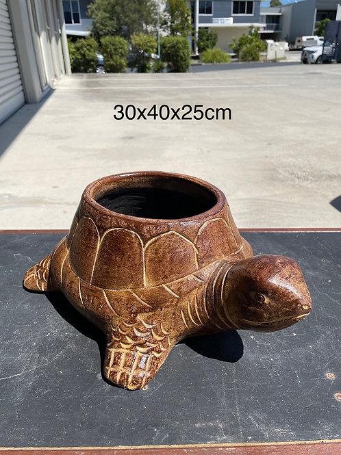 Terracotta tortoise planter brown