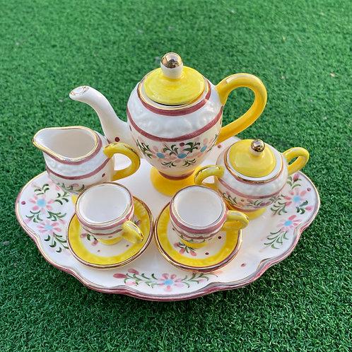 Miniature ceramic tea set  yellow