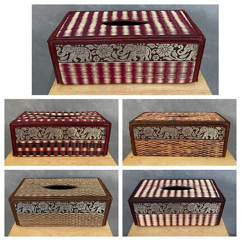 Handwoven reed tissue box holder
