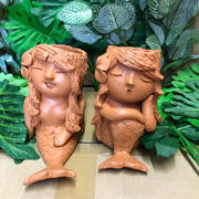 Terracotta mermaid planter sm
