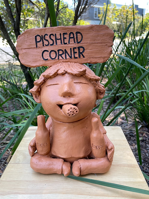 "Terracotta head sign ""pisshead corner"