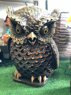 Terracota owl ornament brown