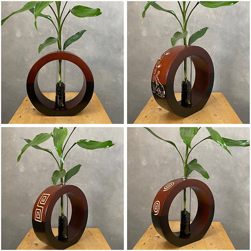 "8""Mango wood vase brown bc"