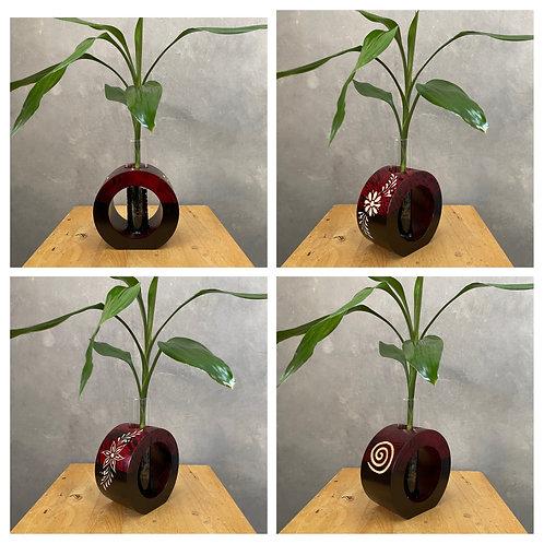 """5""""Mango wood vase red tg bc"""