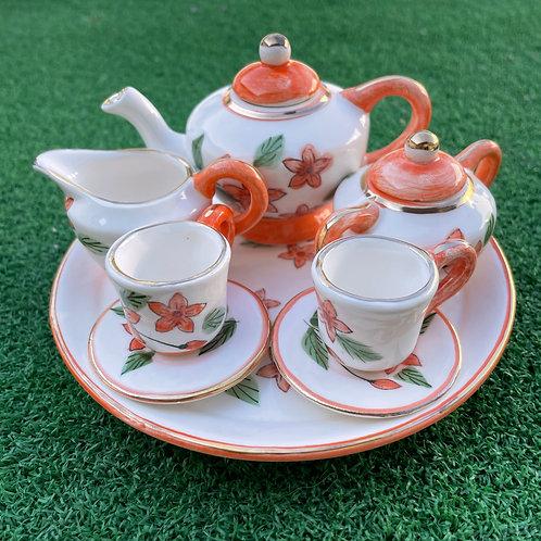 Miniature ceramic tea set orange