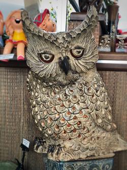 Terracotta owl ornament lg brown