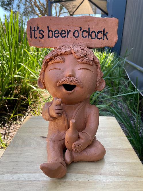 "Terracotta head sign ""it's beer o'clock"""
