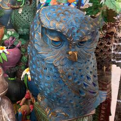 Terracotta owl planter lg blue