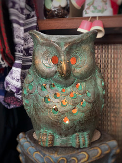Terracotta owl ornament green
