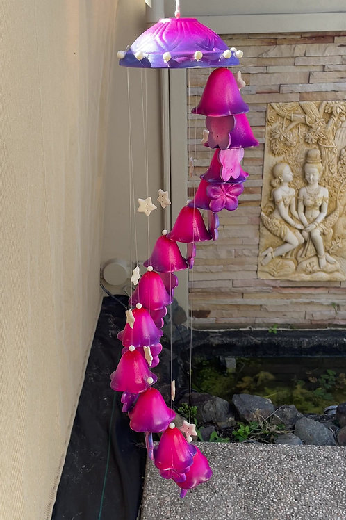Ceramic wind chime pink purplelg