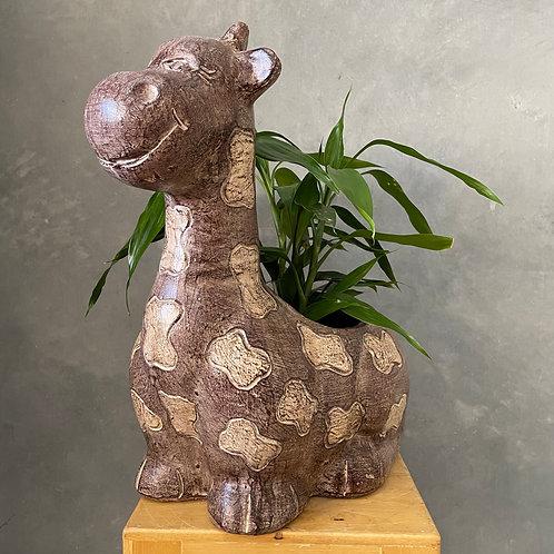 Terracotta giraffe planter brown