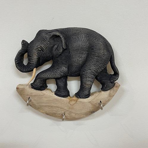 Teak elephant carving key hanger