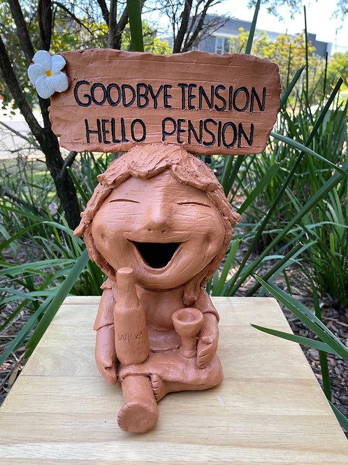 "Terracotta head sign ""Goodbye W"