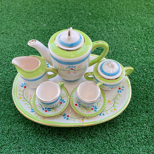 Miniature ceramic tea set wh gr blu