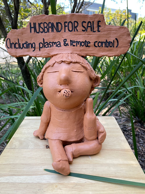 "Terracotta head sign ""Husband for sale"