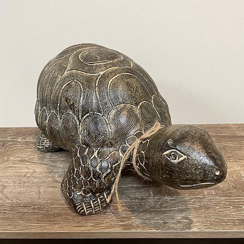 Terracotta turtle ornament sm black