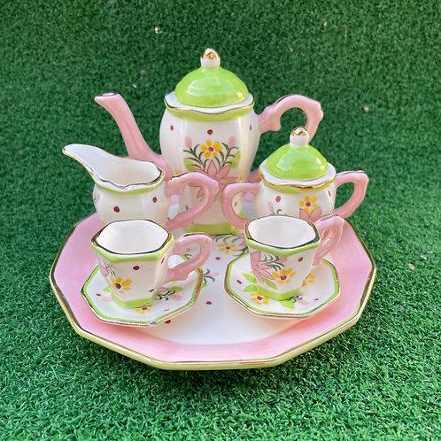 Miniature ceramic tea set pink