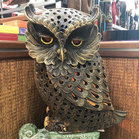 Terracotta owl ornament xlg br