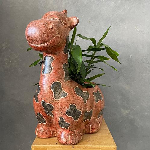 Terracotta giraffe planter red