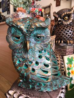 Terracotta  owl ornament green