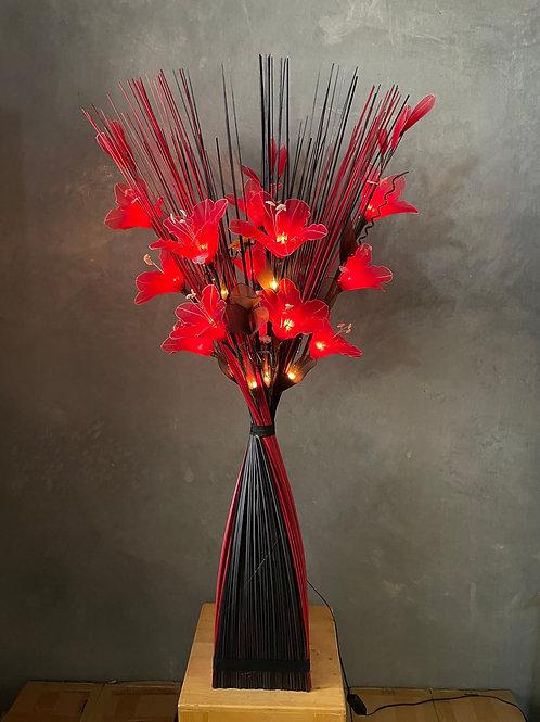 Sq Black red  - red lily  bird light