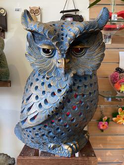 Terracotta owl ornament lg blue