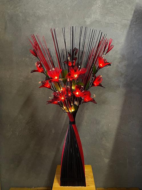 Sq black red -maroon lily bird light